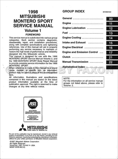 free car repair manuals 1999 mitsubishi montero sport transmission control 1998 mitsubishi montero sport repair shop manual set original