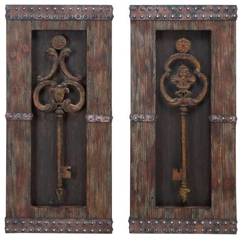 key home decor antique key wood wall decor set of 2 rustic wall
