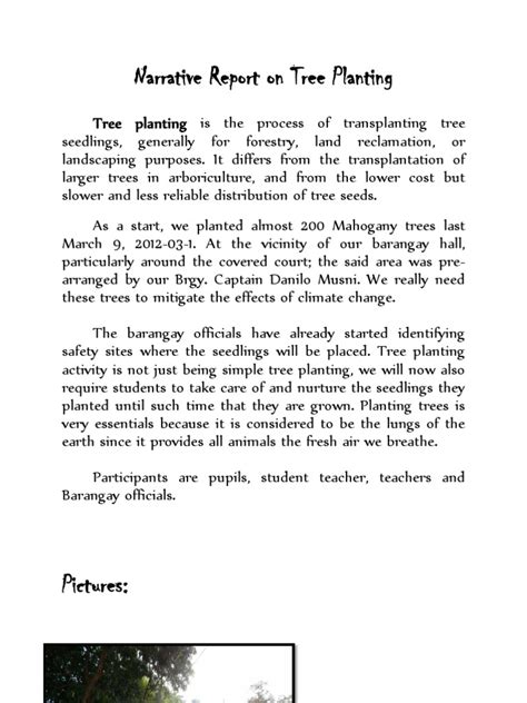 Narrative Report Letter Narrative Report On Tree Planting
