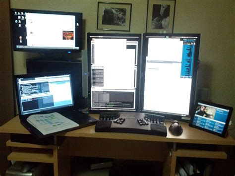 dual monitor desk setup vintage home office setup with minimalist decoration and