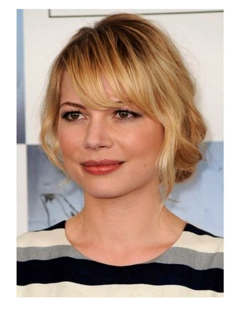 hairstyles for round face shapes side swept bangs with round face short hairstyle 2013