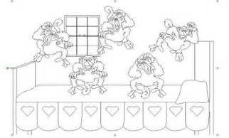 bed coloring pages five little monkeys jumping on the sketch template
