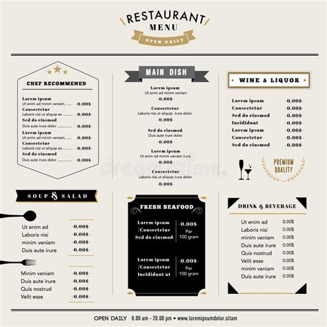 restaurant layout icons restaurant menu design template layout with icons and
