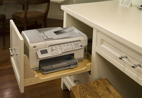 desk with drawers and printer shelf storage solutions