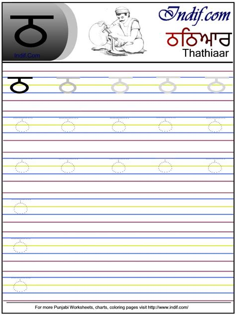 writing printing paper mills in punjab punjabi alphabet worksheet ਠ