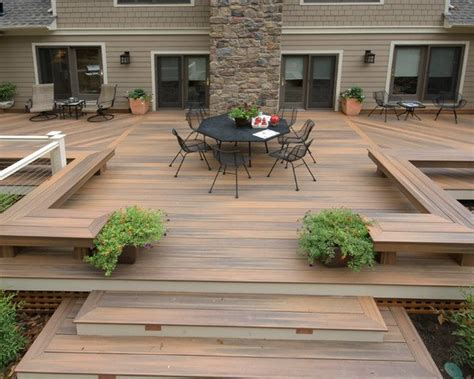 designing a patio area landscape design ideas large wooden deck and dining area