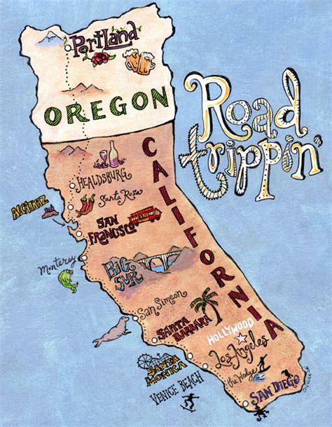 map of oregon and california coast illustrated map jeanine henderson illustration and design