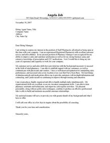 pharmacist cover letter template pharmacist cover letter resume cover letter