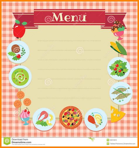 8 blank menu template references format