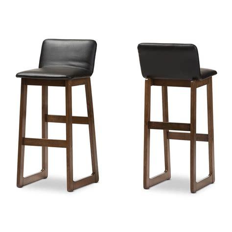 lester walnut wood barstool 2 set modern furniture brickell collection