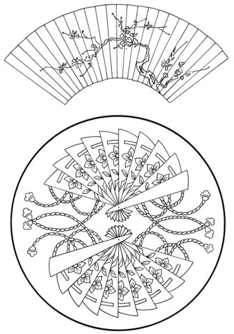 japanese coloring pages japanese fans coloring page parchment