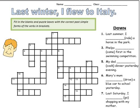 printable crossword puzzle for english learners teaching materials for esl math education 50 esl
