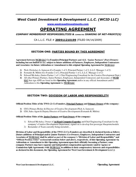 operating lease agreement template best photos of california llc operating agreement template