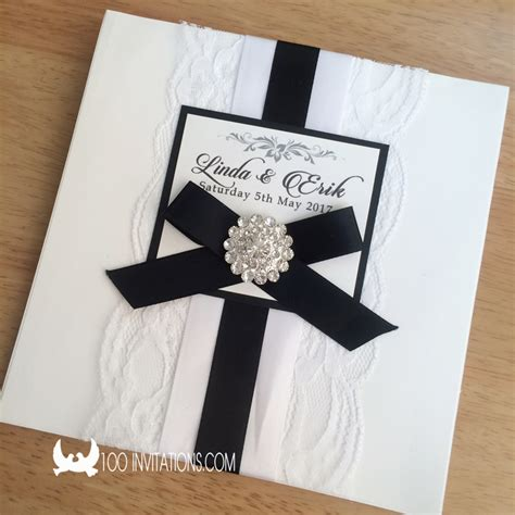 black and white wedding invitations lace wedding invitations free shipping