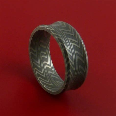 Wood Pattern Ring | damascus steel ring wood grain pattern wedding band zebra look