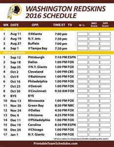 Redskins Home Schedule by Printable 2016 Washington Redskins Schedule Draft News