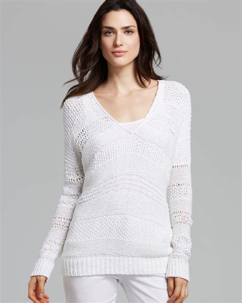 Vince Sweater Open Knit In White Lyst