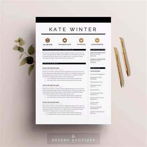 resume template 4 pages cv template cover letter for