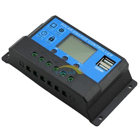 pwm 20a solar charge controller 12v 24v dual usb solar