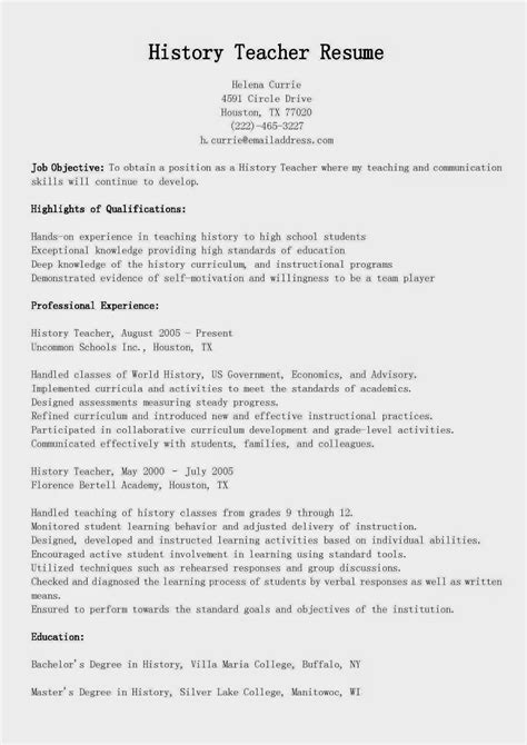 Resume Templates For One History Resume Sles History Resume Sle