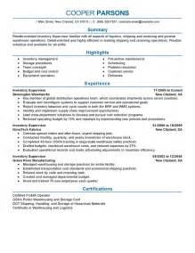 Supervisor Sample Resume Inventory Supervisor Resume Example Production Sample