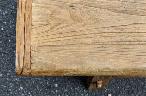 rustic reclaimed elm coffee table with rail stretcher base home barn vintage