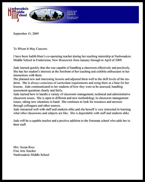 Reference Letter For Co Op Student Nms Co Op Reference Letter Gr 6 8 Judith Hum Teaching Portfolio