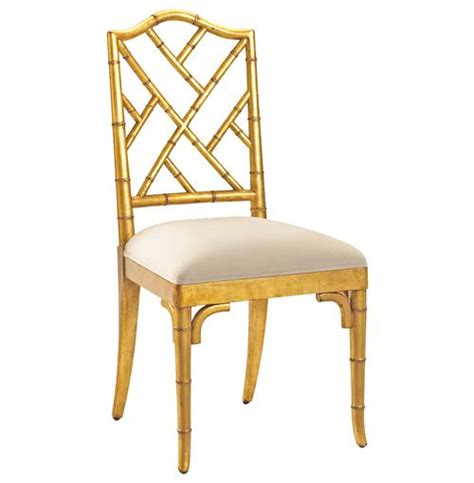 chippendale regency gold bamboo dining chair