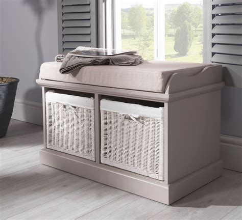 cushion storage bench tetbury bench with 2 white baskets hallway storage bench