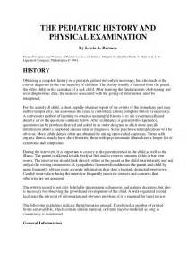 Pediatric History And Physical Template by The Pediatric History And Physical Examination