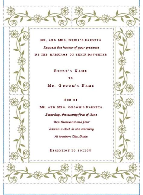 Wedding Invitations Word Template by Free Printable Wedding Invitation Templates Hohmannnt