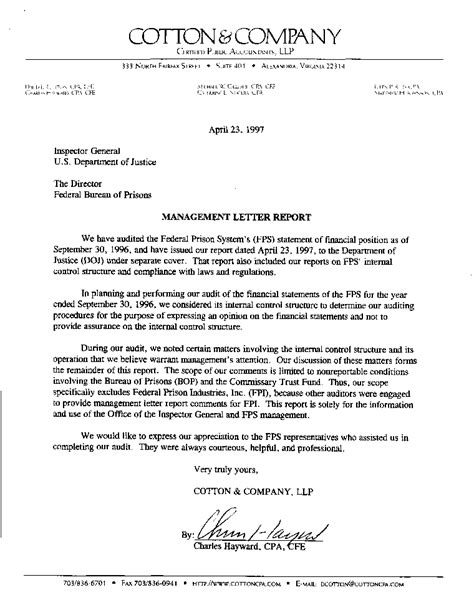 Report Letter About Audit Report 98 12