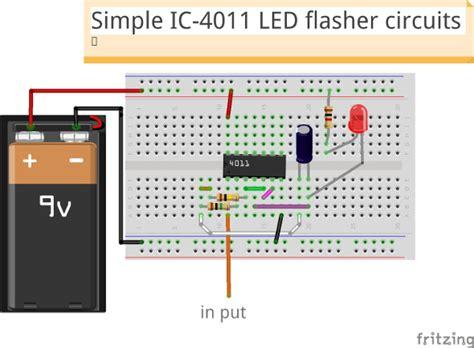 circuit wizard breadboard simple ic 4011 led flasher circuit eleccircuit