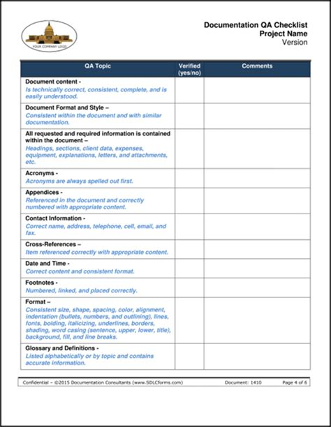 qc template sdlcforms documentation qa checklist template