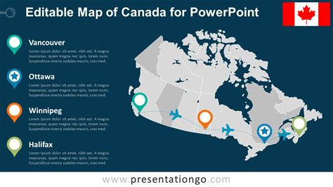 us and canada map for powerpoint canada editable powerpoint map presentationgo