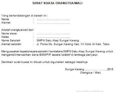 contoh surat kuasa orang tua wali untuk pengambilan kolektif bsm