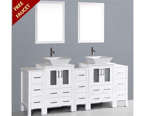 white square vessel sink white 84in square vessel sink vanity by bosconi