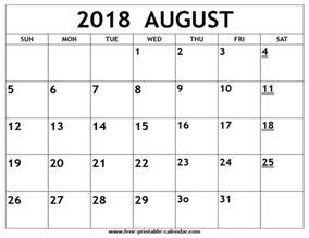 Kalender August 2018 Printable 2018 August Calendar
