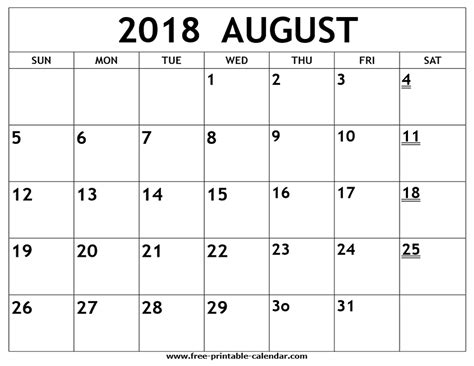 printable calendar 2018 large print printable 2018 august calendar