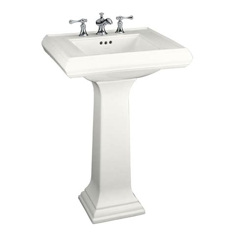 white bathroom sinks kohler memoirs classic ceramic pedestal combo bathroom sink in white with overflow