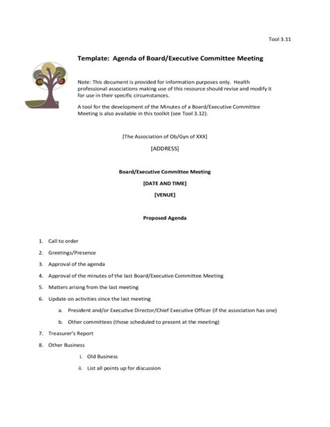 board meeting agenda template template agenda of board executive committee meeting free