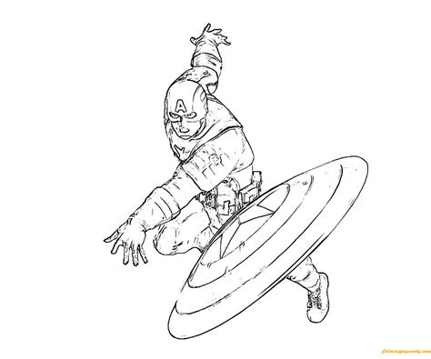 captain america throws a shield coloring page free