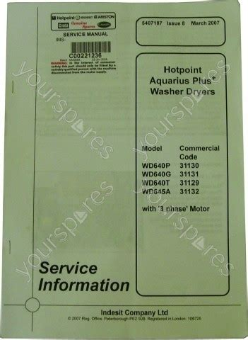 hotpoint wd640p service manual c00221236 by indesit