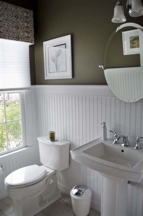 beadboard uk high contrast powder room walls white beadboard wainscot pedestal sink pleated shades