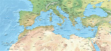 map of mediterranean vector map of the mediterranean political with shaded