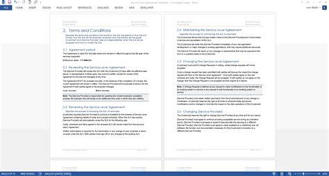 service level agreement sla template ms wordexcel