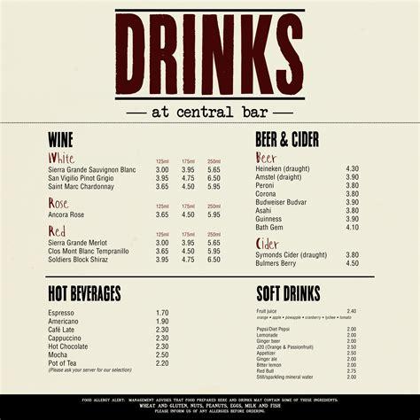 bar menu beer artist for the ambulance