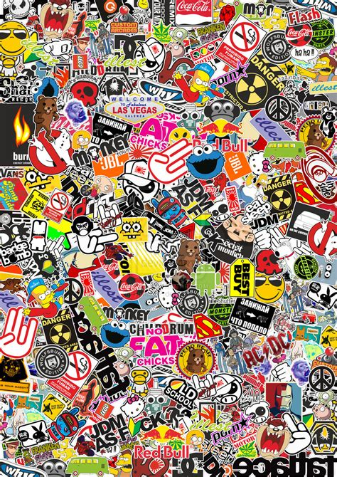 sticker wallpaper stickerbomb my work by romaxp on deviantart