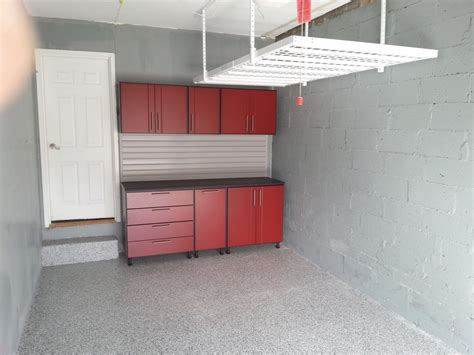 colors that work in concrete grey apartment red cabinet with drawer in the garage after remodel
