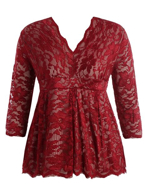 Chest Lace Shirt S Xl stylish v neck half sleeve plus size lace blouse for in wine xl sammydress